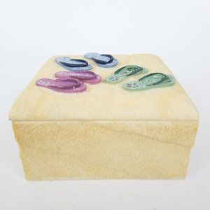 Sand Textured Beach Ceramic Trinket Jewelry Box